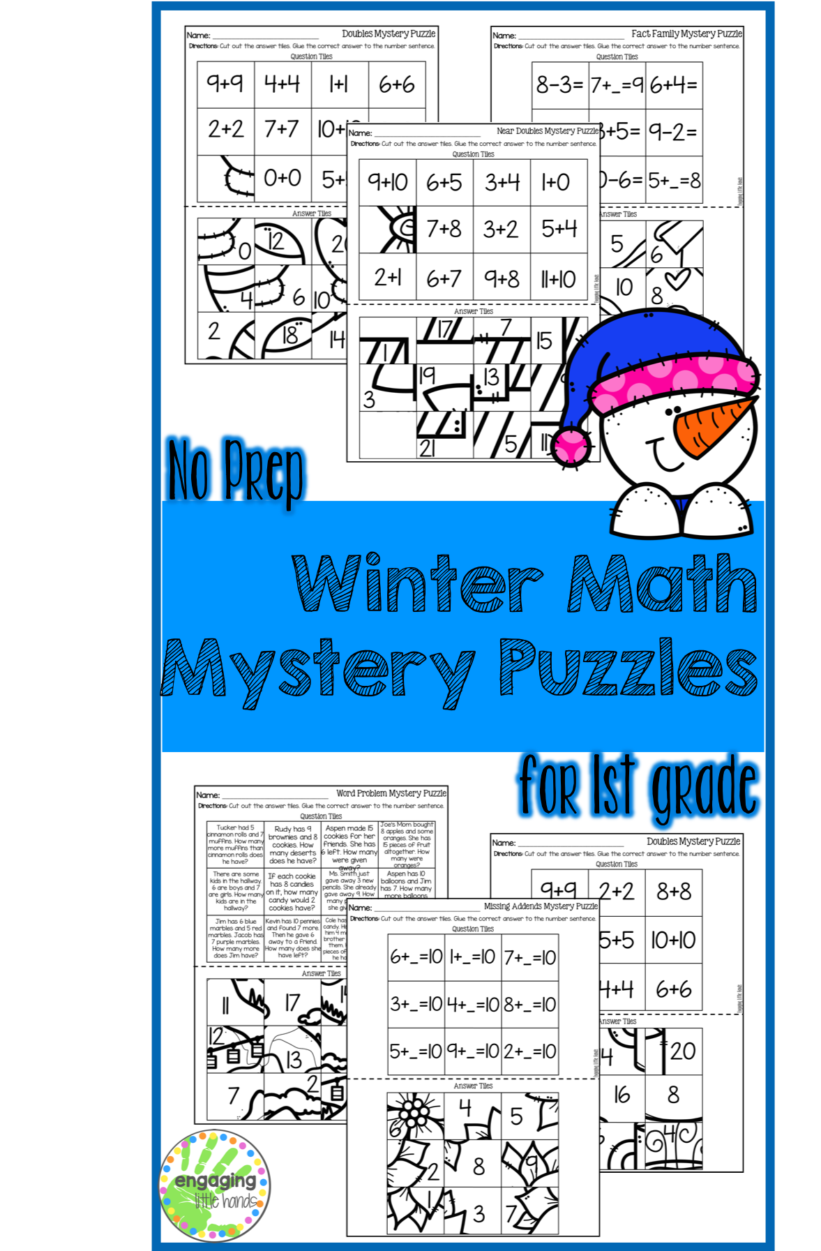 Winter Mystery Puzzles For 1st Grade
