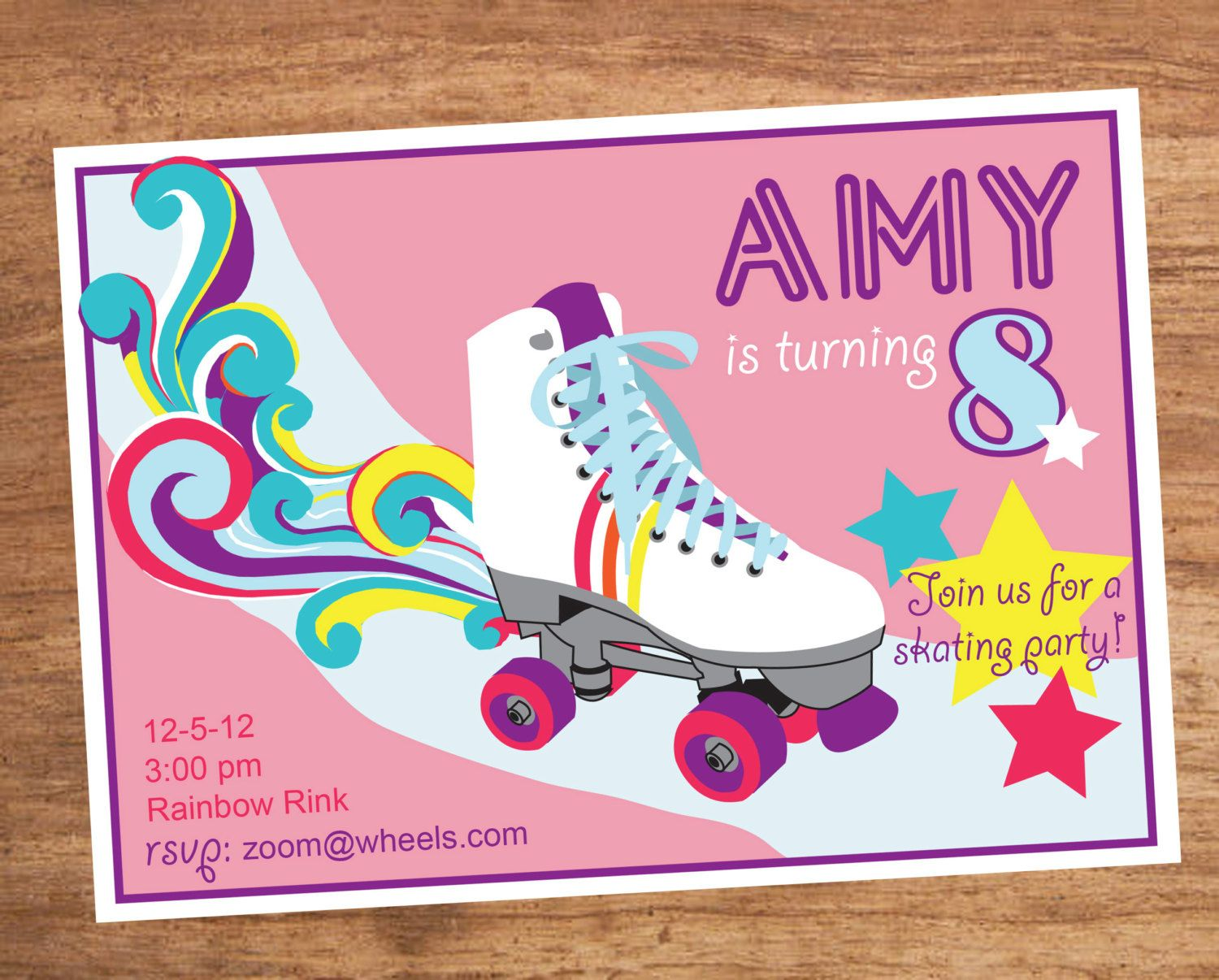 girls roller skating party invitations - Google Search | Lola ...