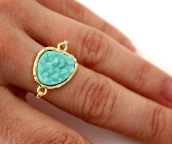 Druzy light mint  ring 14kt gold filled  custom by anthology27, $24.95