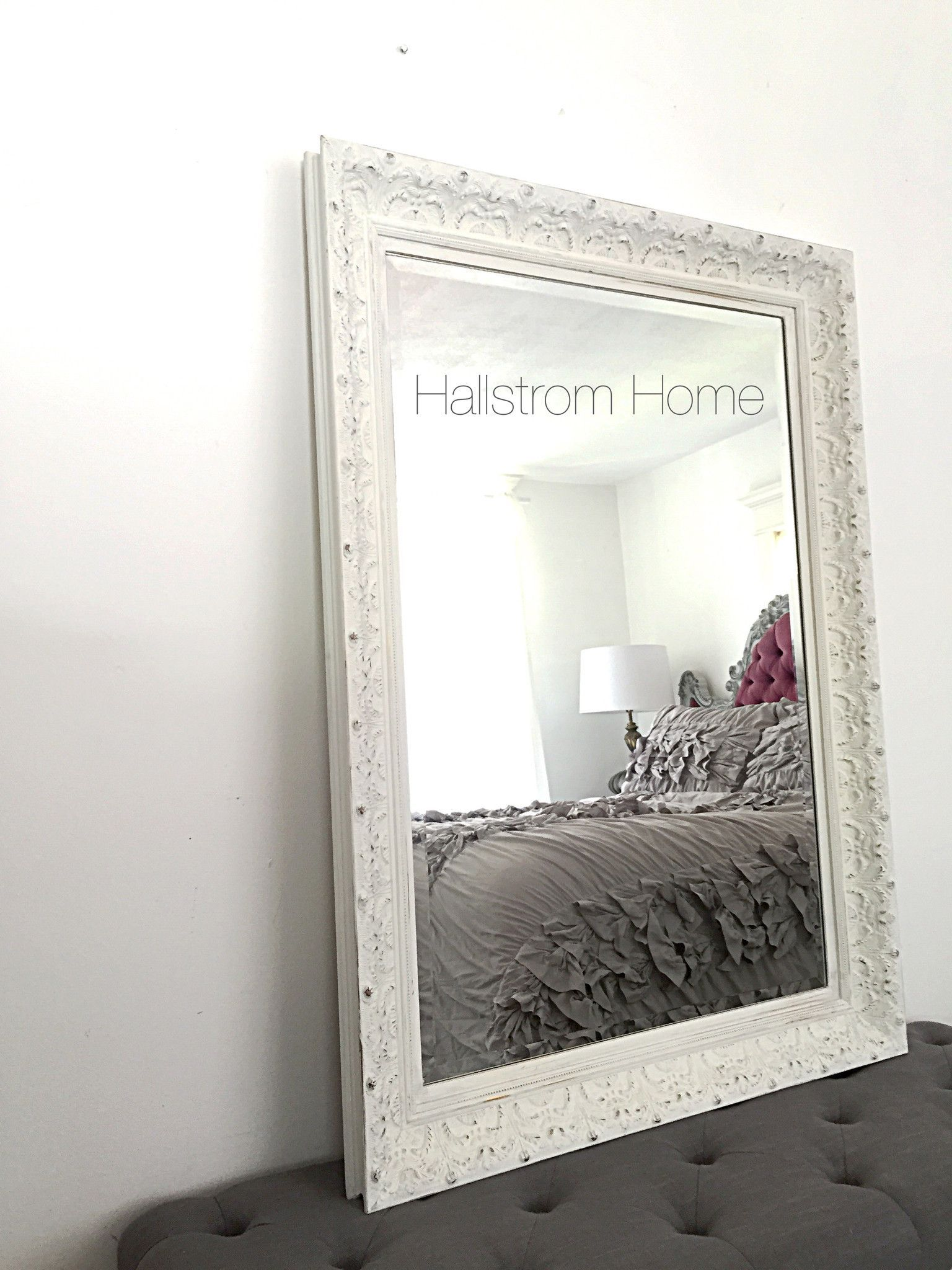 Large French Shabby Chic White Chalk Paint Mirror Quality is our top ...