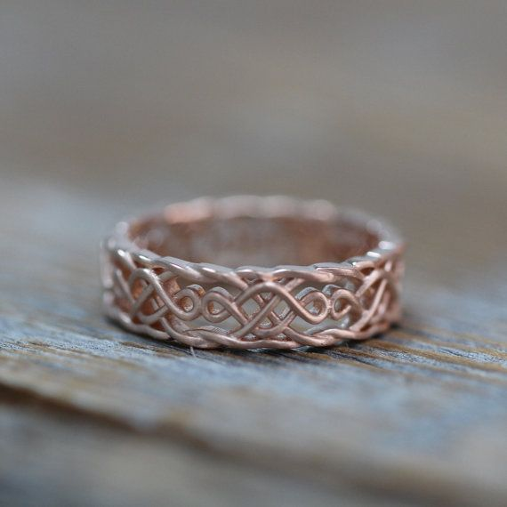 Celtic Wedding Band 14k Rose Gold Infinity Knot Ring For Him Or Her Anniversary