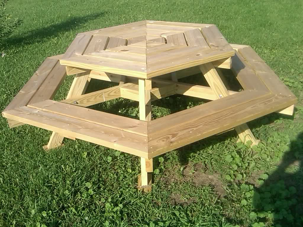 Garden And Patio Outdoor Wooden Octagon Picnic Table With Swing Up Benches Pallet Picnic Tables Picnic Table Octagon Picnic Table