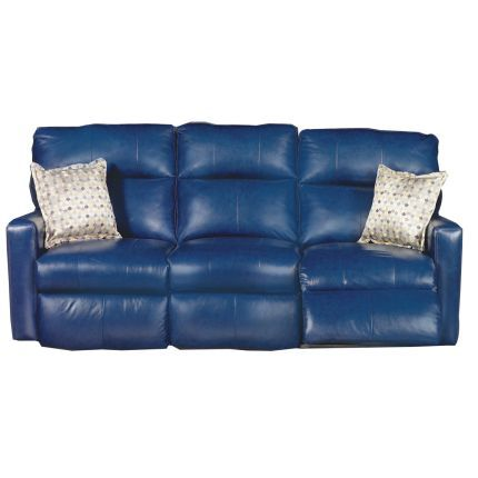 85 Inch Navy Blue Leather Match Dual Reclining Sofa Reclining