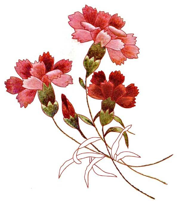 Free Hand Embroidery Pattern Carnations Embroidery Flowers Pattern Paper Embroidery Crewel Embroidery Tutorial
