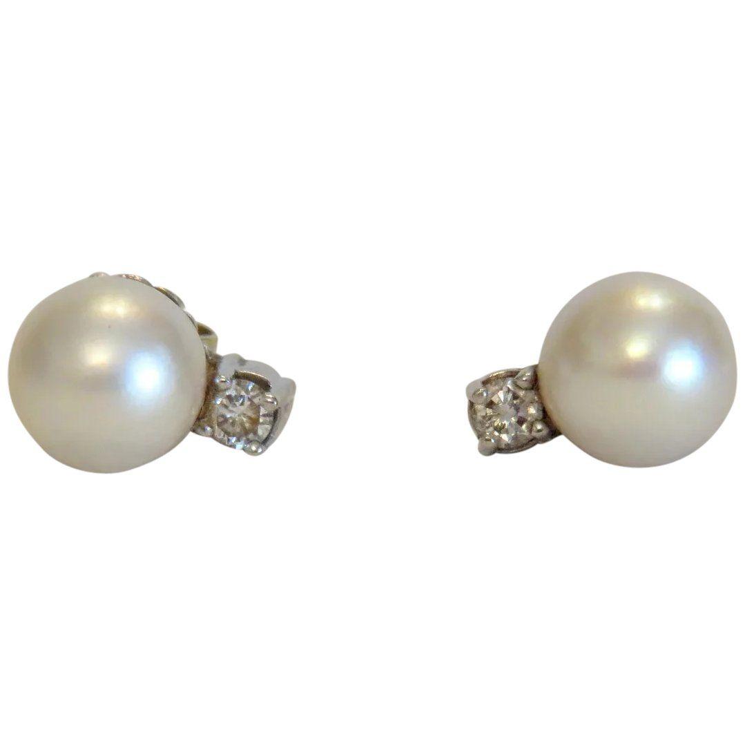 Vintage Real Pearl and Diamond Stud Earrings