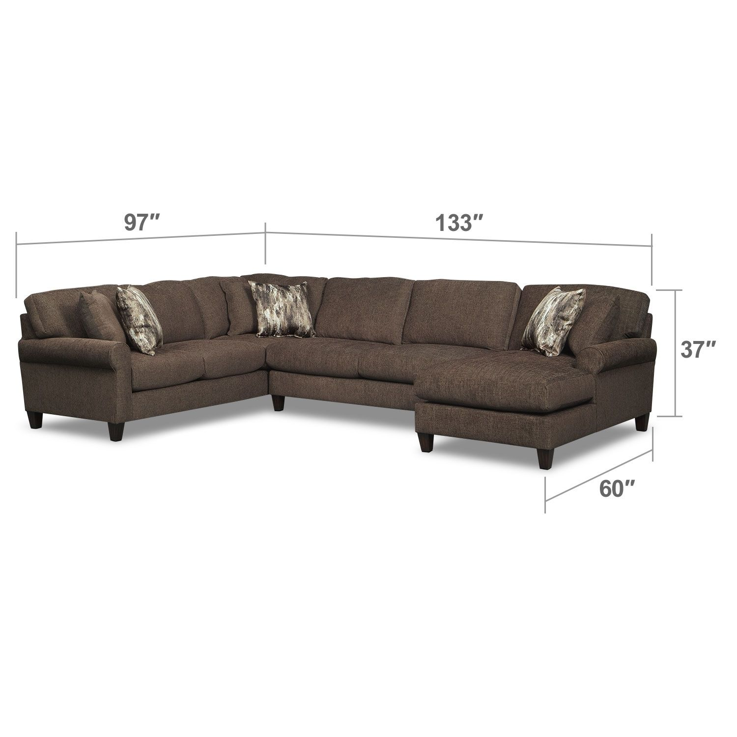 Karma Smoke 3 Pc Sectional With Right Facing Chaise Value City Furniture Living Room Furniture Collections Furniture Living Room Collections