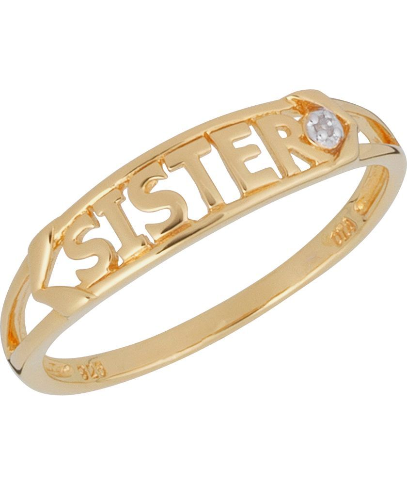 Buy 9ct Gold Plated Silver Diamond Set Sister Ring at Argos.co.uk -