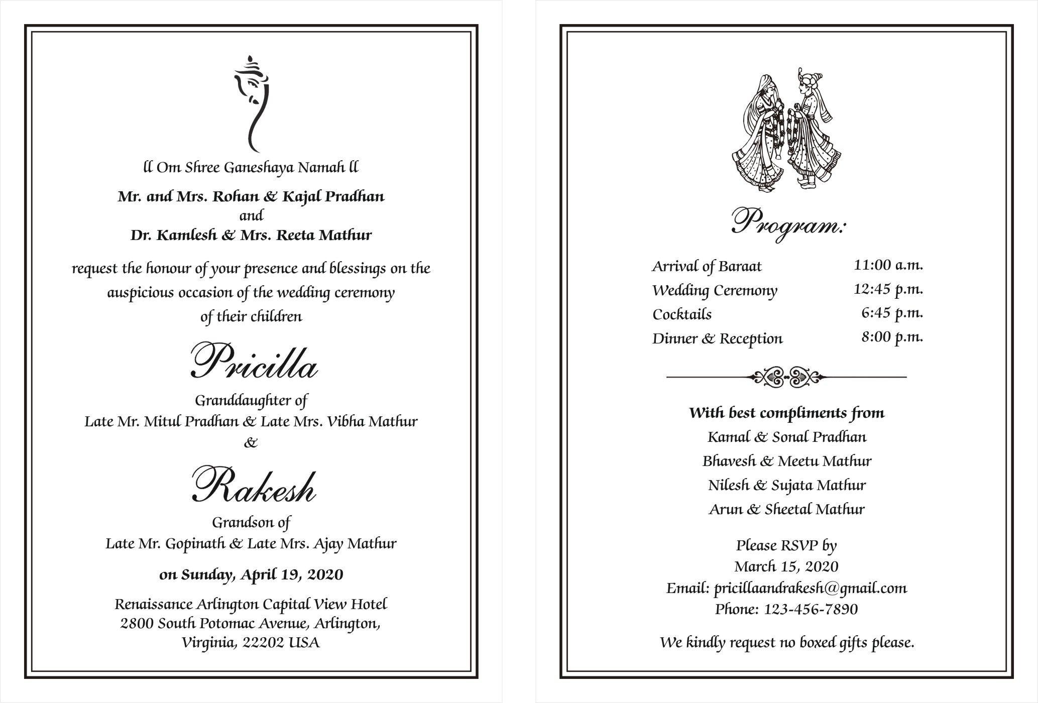 Hindu Wedding Cards Wordings (With images) Hindu wedding