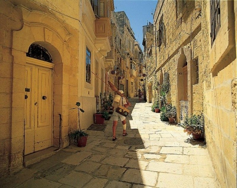 Narrow streets in old parts of villages in Malta.