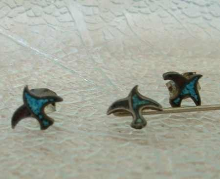 Sterling Silver Tiny Inlaid Turquoise Dove Hat Stick Pin Earrings Set