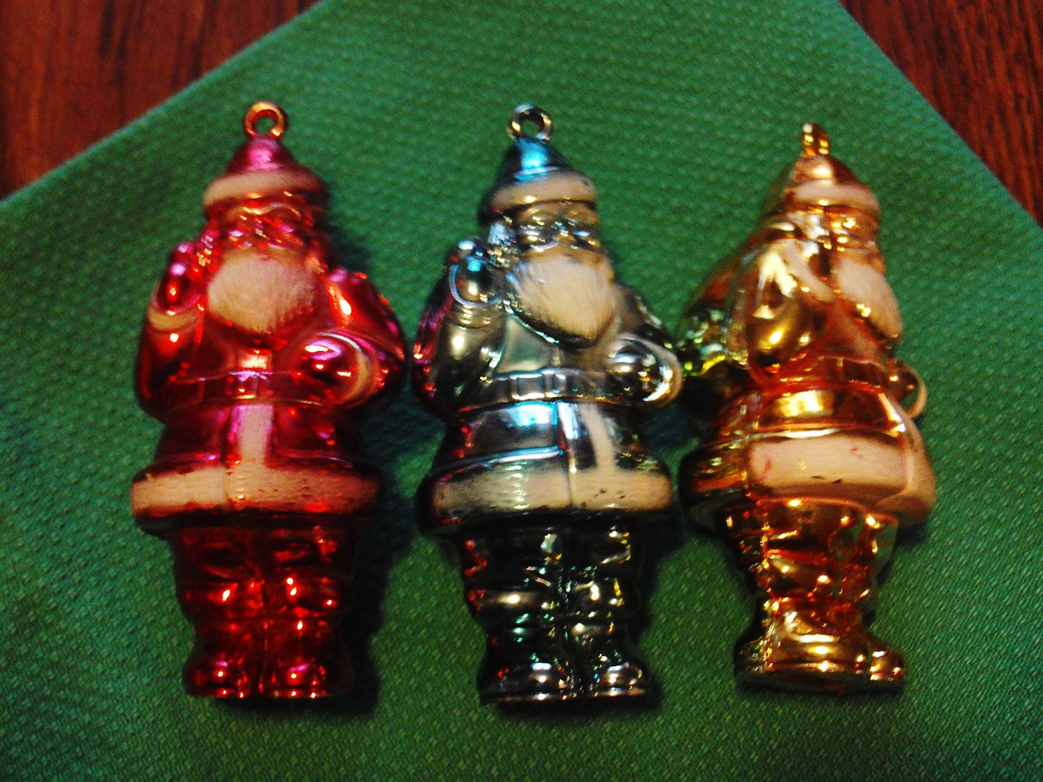 Vintage Red, Yellow, Blue Shiny Christmas Light Holders