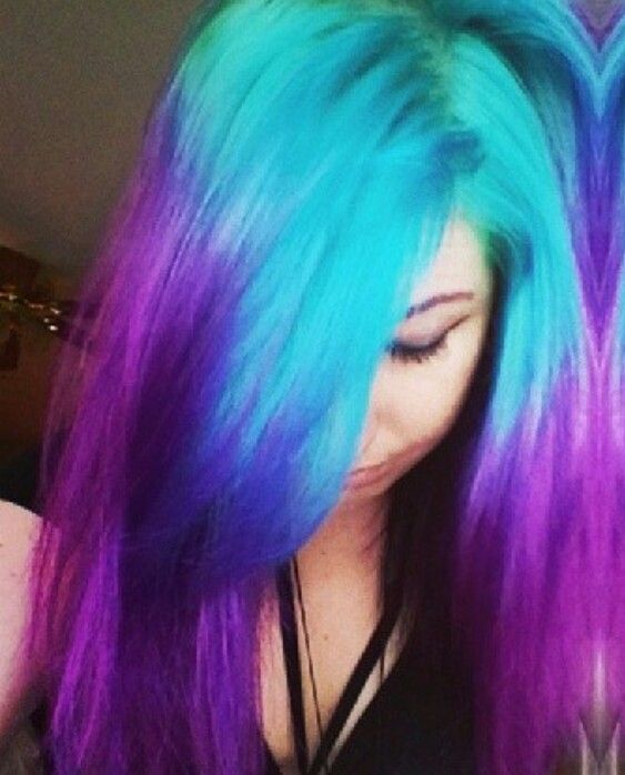 Purple turquoise ombre dyed hair