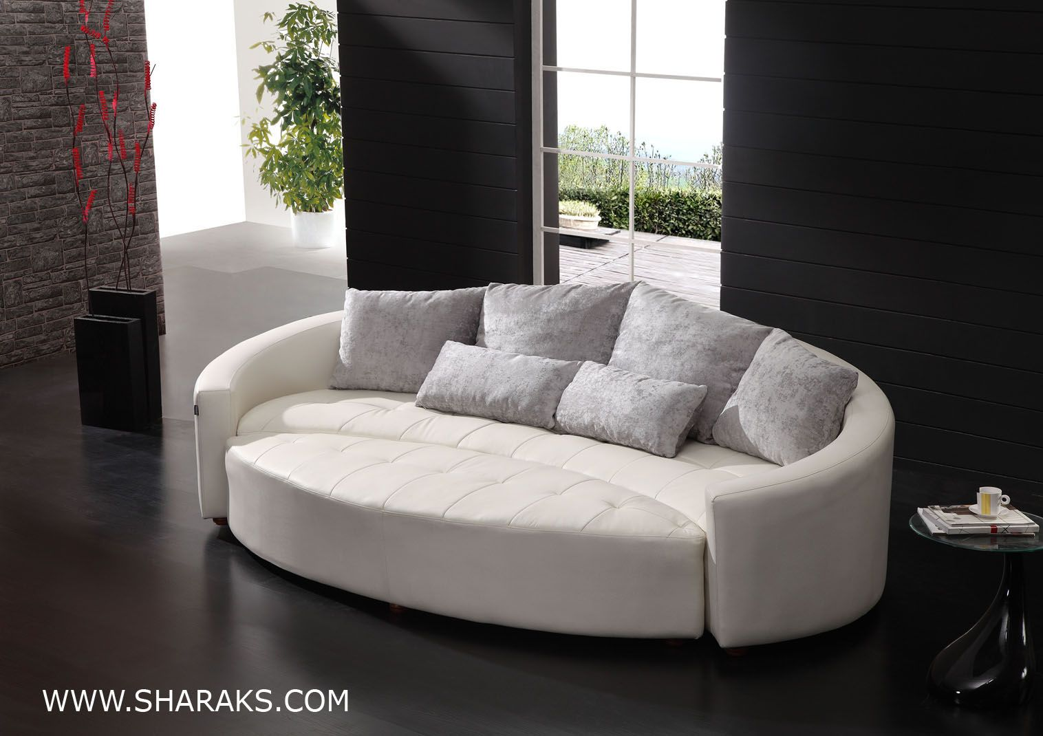 Luxurious white round leather couch has similar colored cushions adorable elegant round leather couch design inspirations furniture