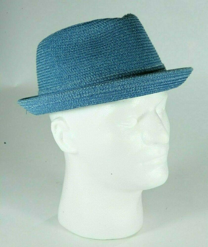 cdaa59268 Bailey Of Hollywood Mens Blue Straw Fedora Mannes Trilby Hat Size ...