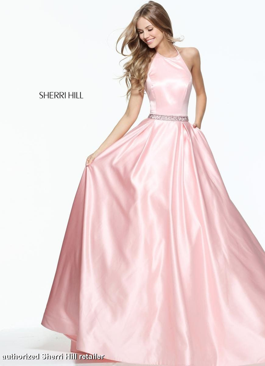 9507f4f289c Sherri Hill 51036 Halter neckline satin ballgown skirt simple elegant prom  pageant formal dress lots of colors pink yellow blue black emerald fuchsia  coral ...