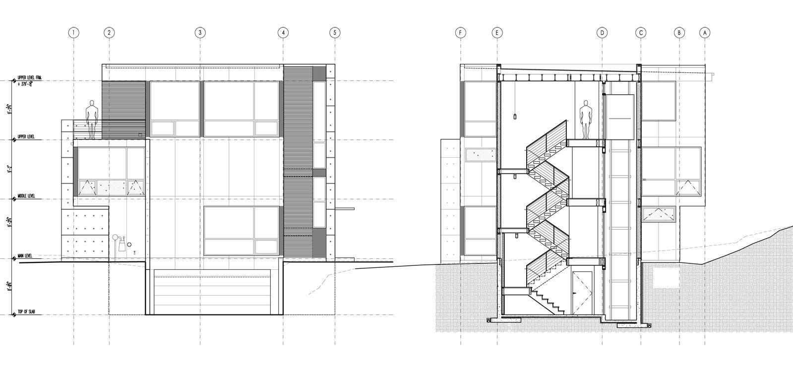 Build Llc Desai Section Elevation Architectural Section Auditorium Design Tonys House
