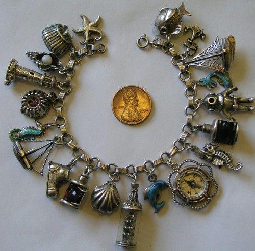 Vintage Antique Sterling 800 Silver Nautical Sea Ocean Charm Bracelet 20 Charms