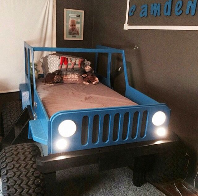 Jeep bed | Diy kids bed, Truck bedroom, Kid beds
