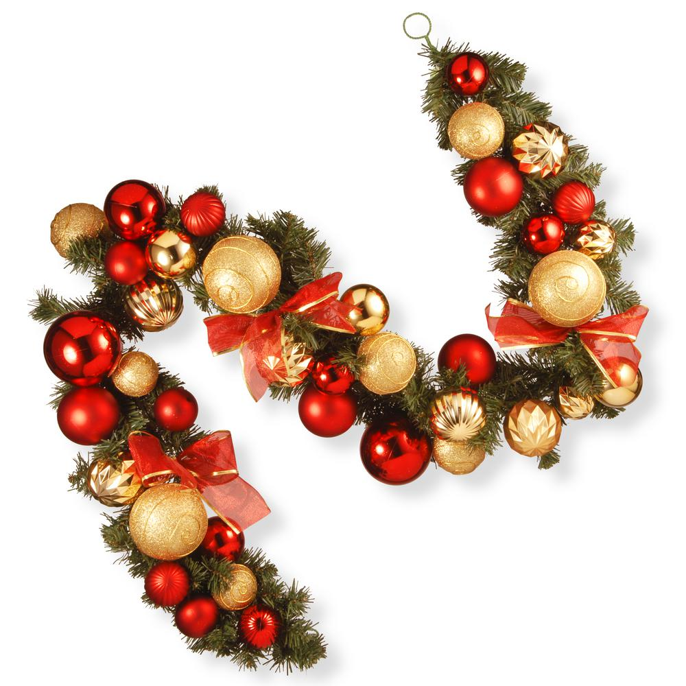 National Tree Company 6 Ft Red And Green Ornament Garland In 2020 Ornament Garland Outdoor Christmas Garland Red Ornaments