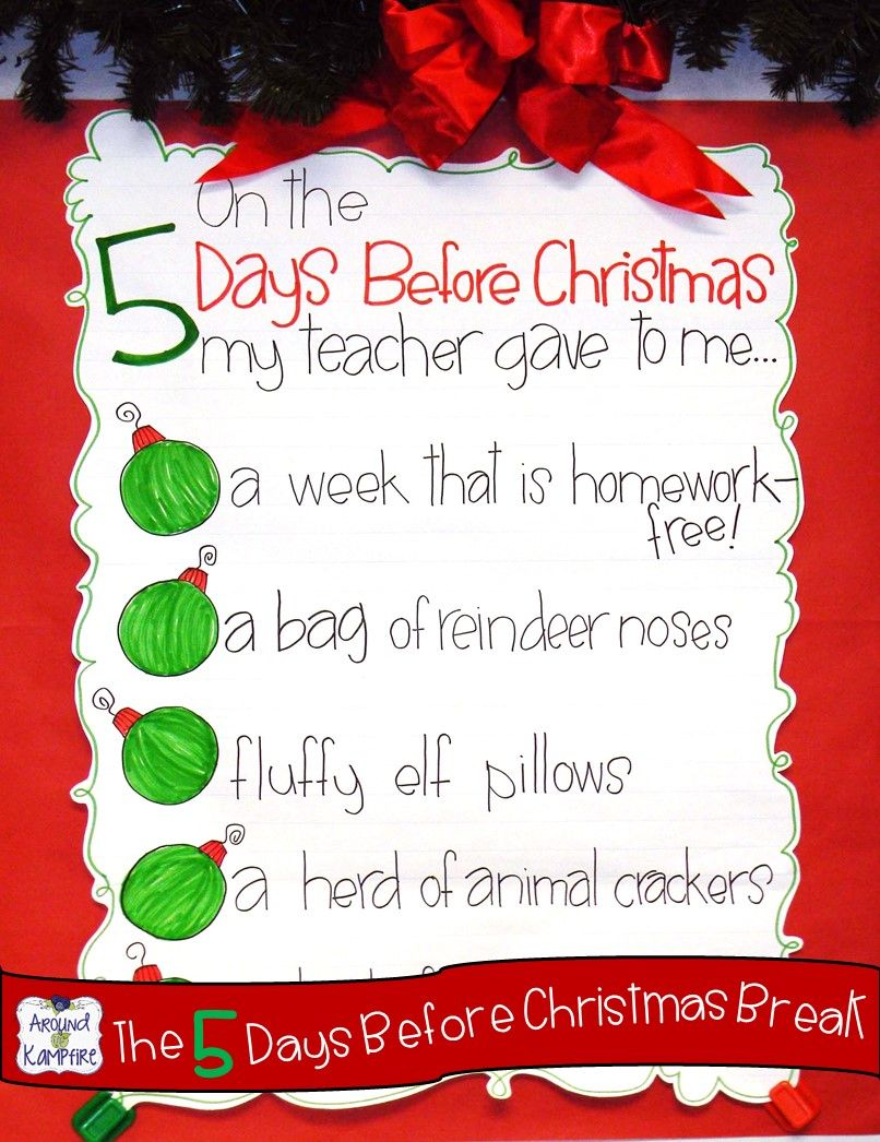 T 39 was the 5 days before christmas break anchor charts for Christmas spirit ideas