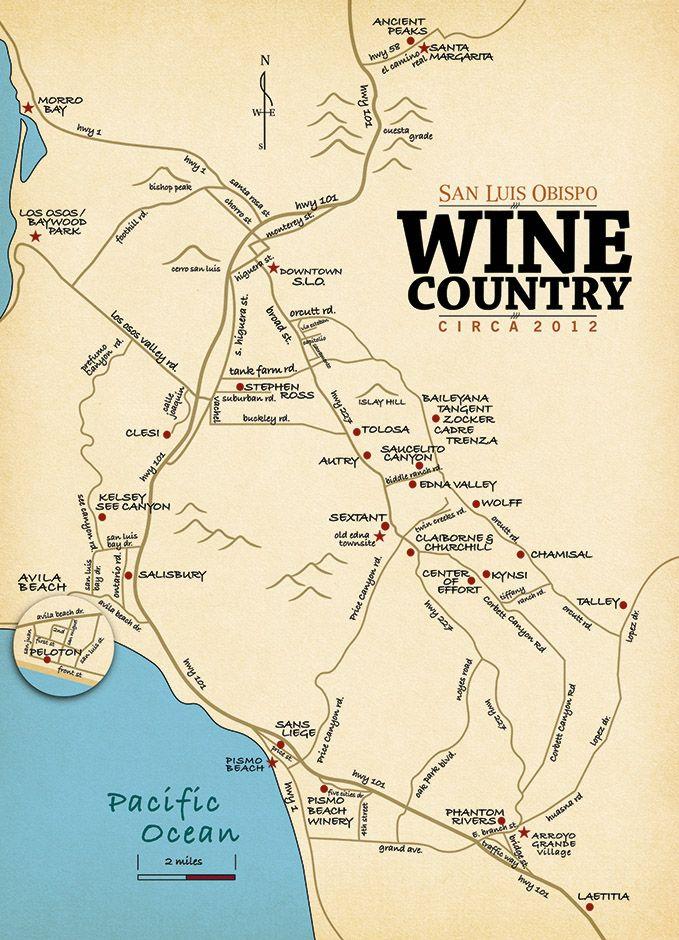 Slo Wine Country San Luis Obispo Wine Tasting Map Wine Tasting Wine Country San Luis Obispo