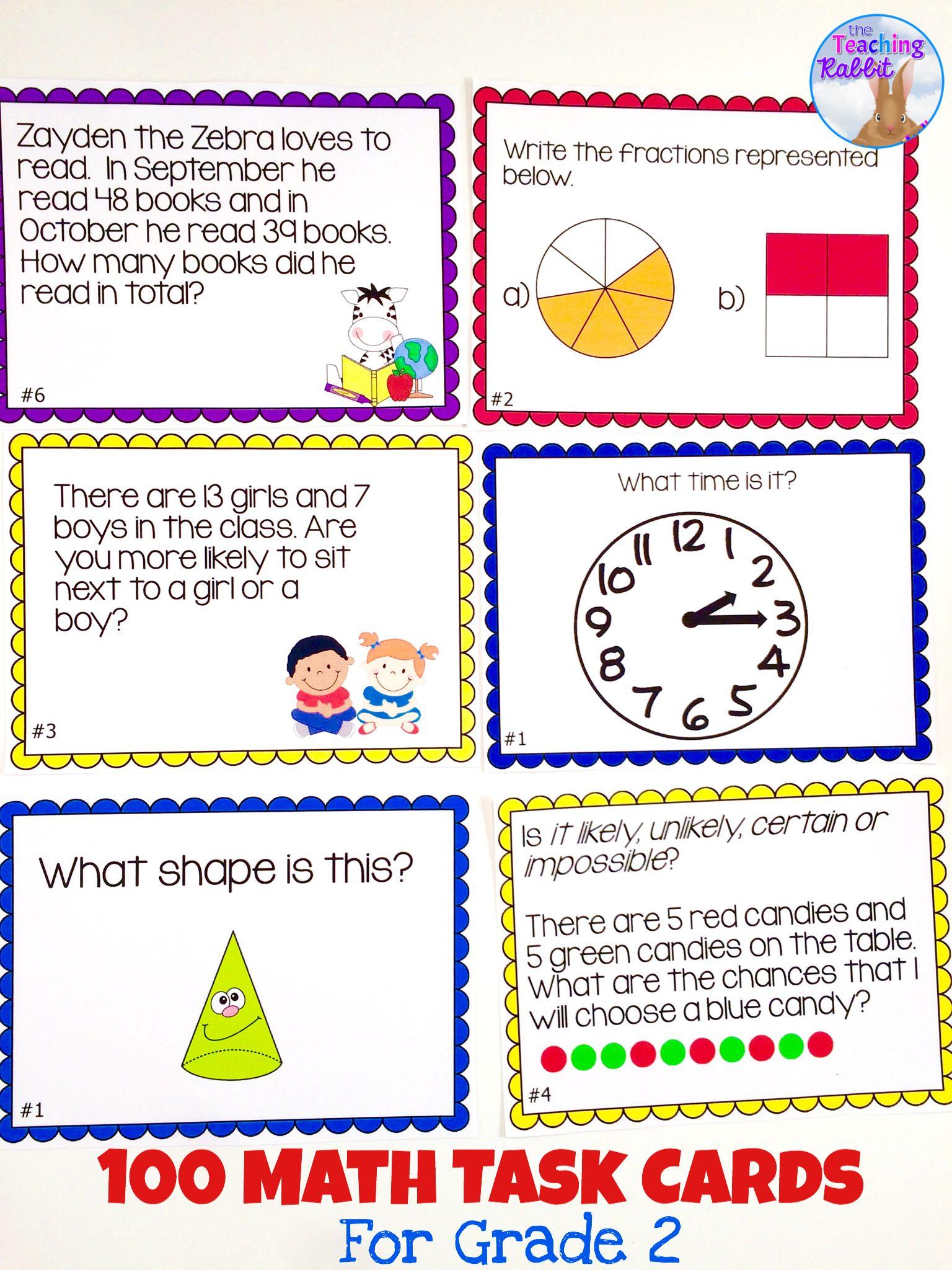medium resolution of Math Task Cards (2nd Grade)   Math activities elementary