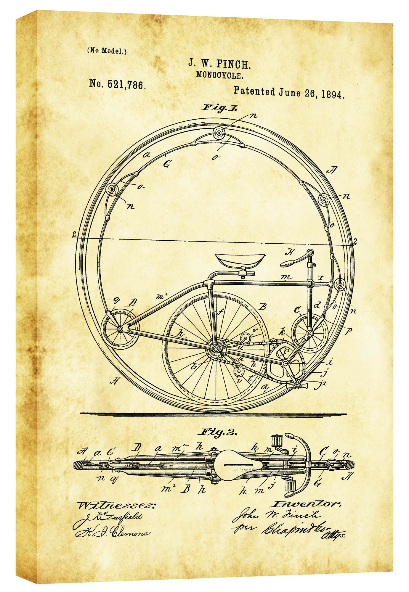 Monocycle Vintage Patent\' Blueprint Graphic Art on Wrapped Canvas ...