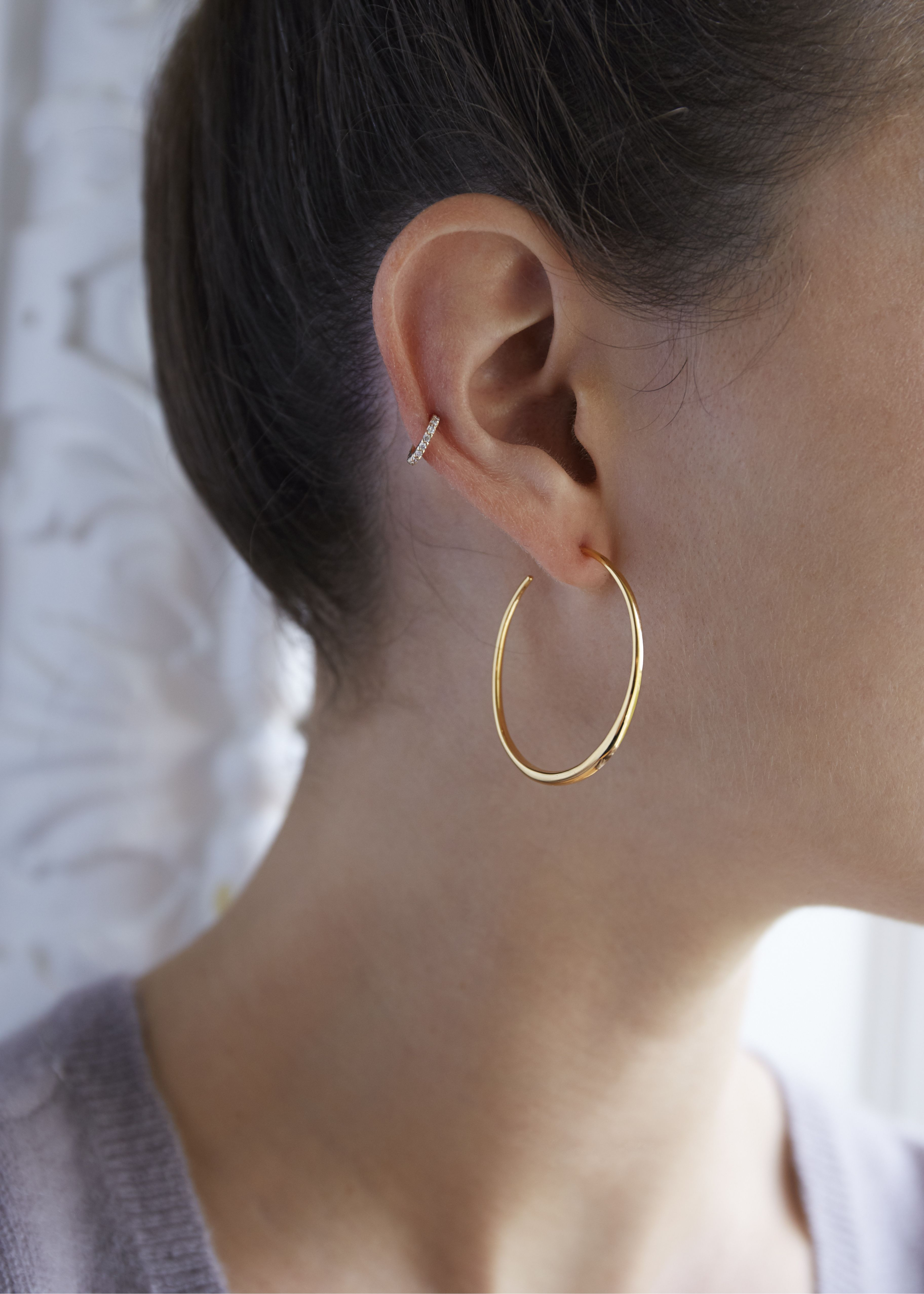 4e6e1b56b New interpretations of iconic designs from the Dinny Hall classic silver  collections. These medium hoops are handmade in 22k yellow gold vermeil and  are the ...