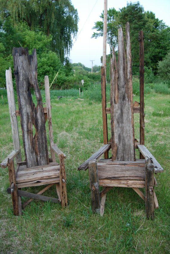 Handmade Driftwood Matching Pair Of Chairs By Jehovahjirehfarm, $1600.00 Part 96