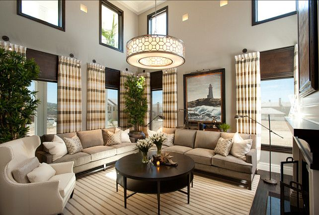 traditional living room with a neutral color scheme designed by robeson design via home bunch - Designed Living Room