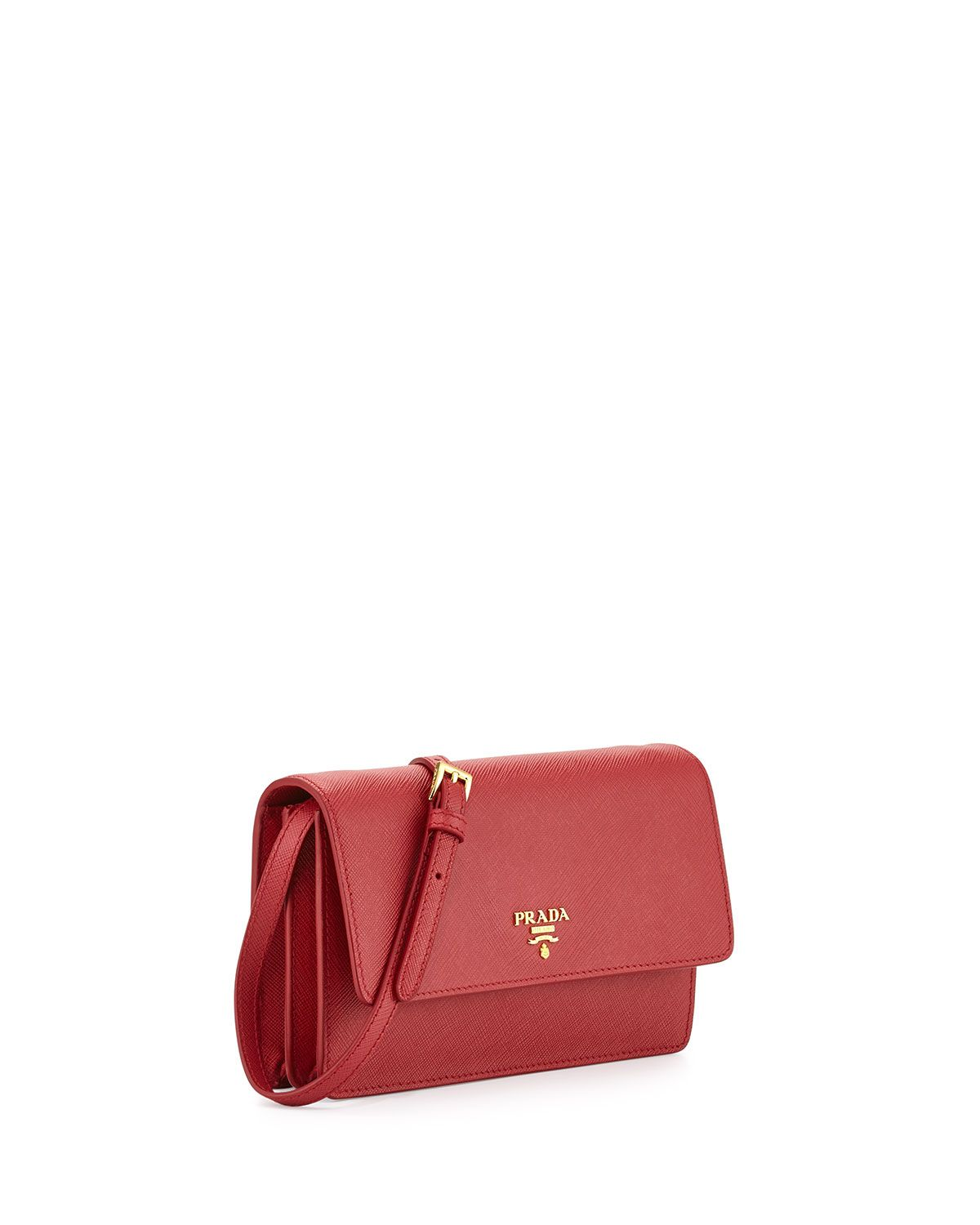 99b3a24872f3 Prada | Red Saffiano Mini Cross-Body Bag | Lyst | Bags | Mini ...