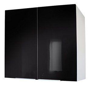 cfac11e1cf Berlenus CP8HN Meuble Haut de Cuisine avec 2 Portes Noir Haute Brillance 80  cm