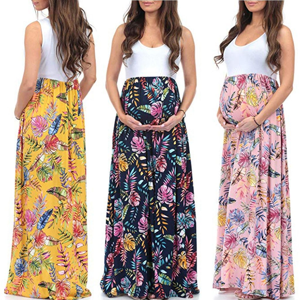 2019 Womens Sleeveless Maternity Pregnancy clothes dress Ruched Color Block Maxi Splicing Dress ropa de mujer vetement femme