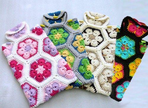 Crochet Hot Water Bottle Cozy, African Flower Hot Water Bottle Cover ...