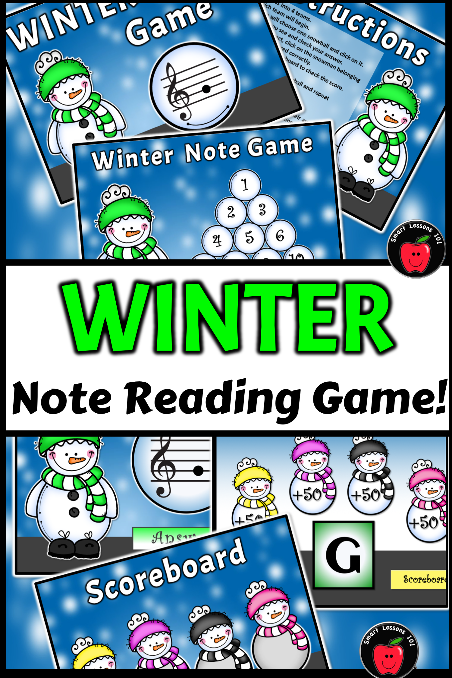 winter music game activity winter treble note naming game. Black Bedroom Furniture Sets. Home Design Ideas