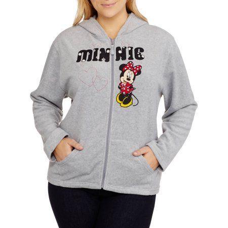 Plus Size Disney Women's Plus Minnie Mouse Plush Fleece Full Zip Hoodie, Size: 1XL, Gray