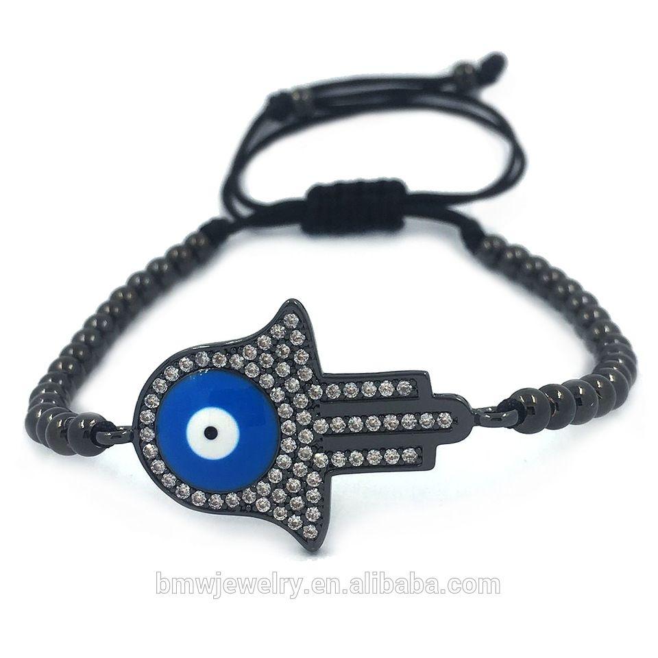 Anil arjandas men hamsa braceletblue evil eye connector u mm beads