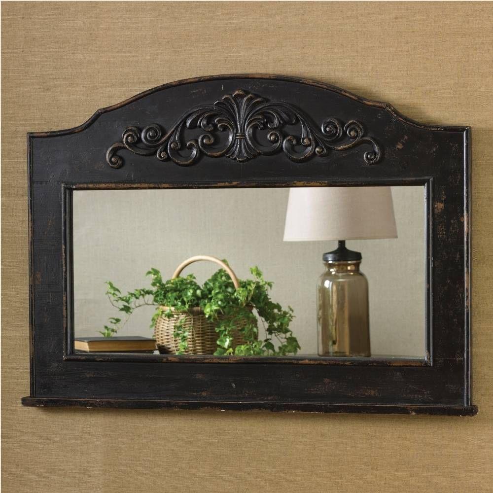 Aged black mantle top mirror farmhousedecor
