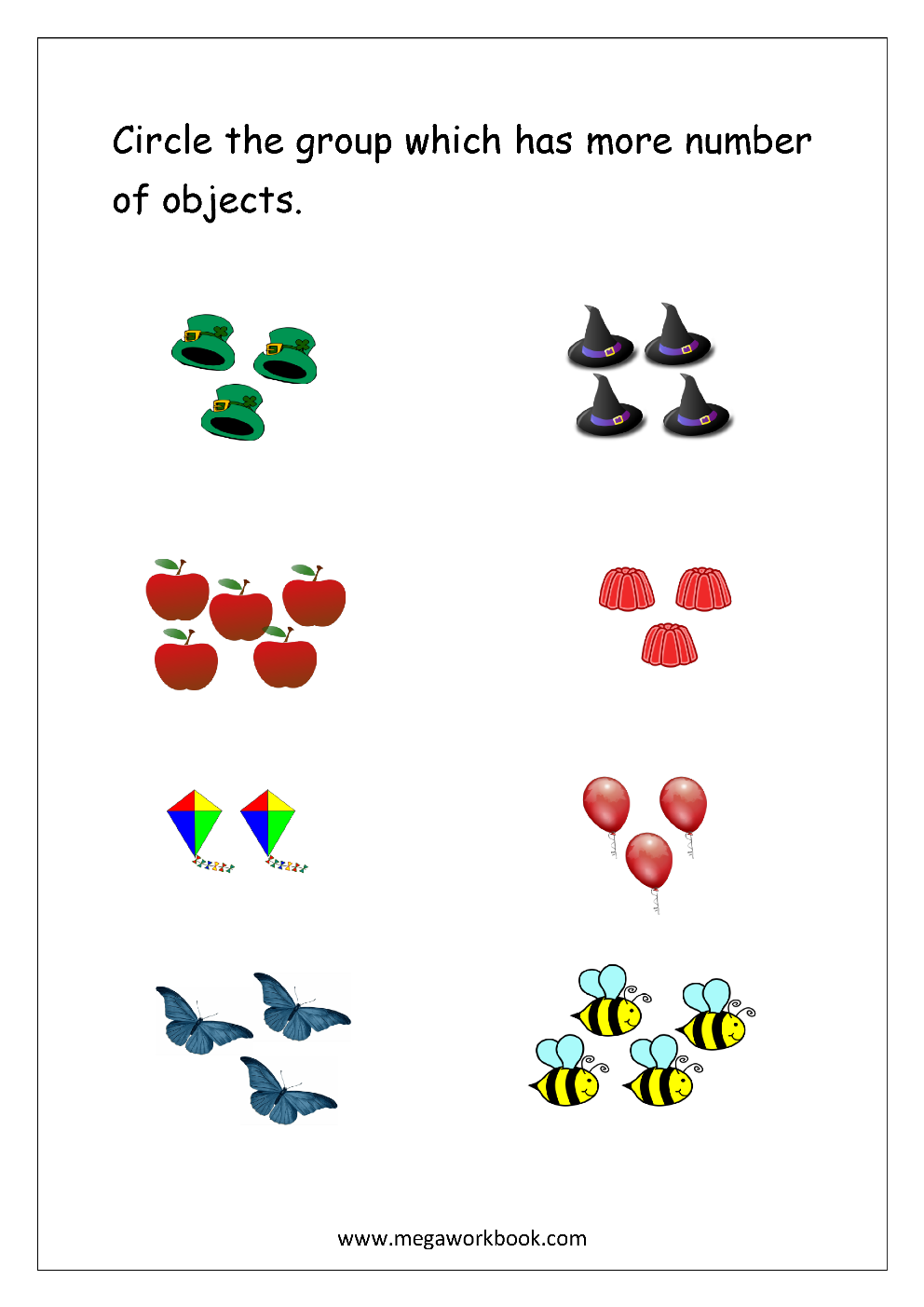 Math Worksheet - Circle The Group With More Number of ...