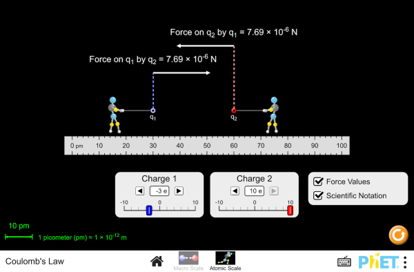 Visualize The Electrostatic Force That Two Charges Exert On Each Other Observe How Changing The Sign And Magnitud Physical Science Scientific Notation Physics
