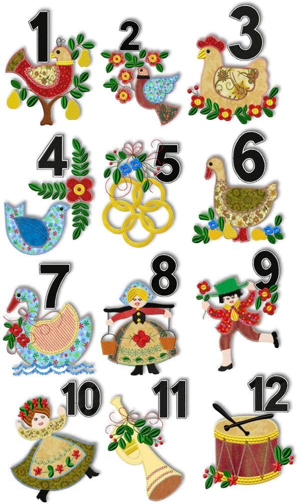 12 Days Of Christmas Applique Set Christmas Applique Felt Christmas Ornaments Felt Christmas