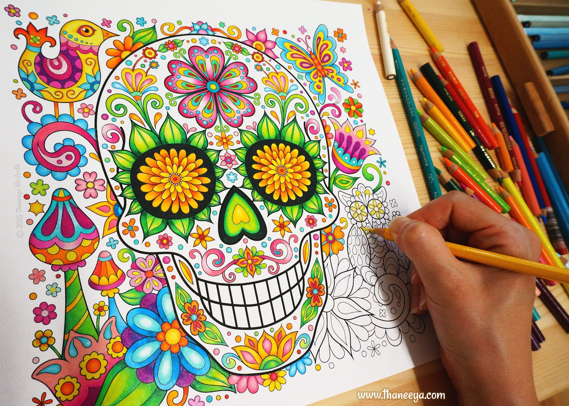 Free spirit coloring book by thaneeya mcardle coloring books by - Sugar Skull From Thaneeya Mcardle S Sugar Skulls Coloring Book Https Www Amazon