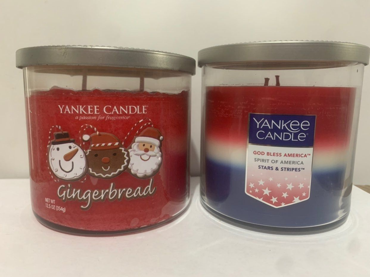Yankee Candle Set Of 2 Medium Tumblers Gingerbread Freedom Trio 12 5 Oz Double Wick Candles I Combine Shipping And Yankee Candle Yankee Candle Set Candles