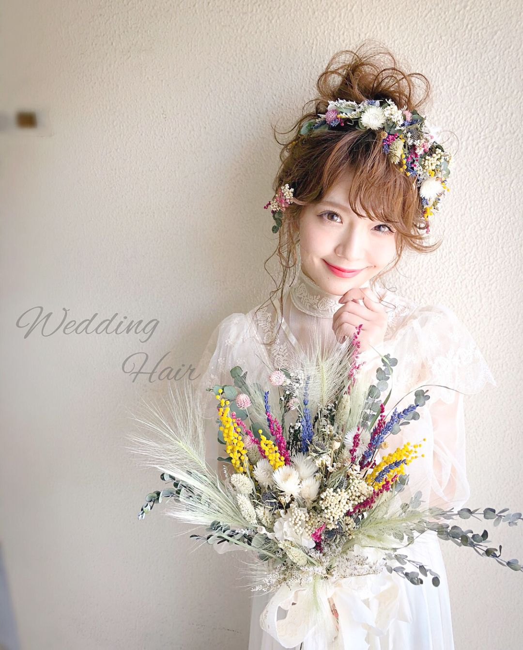 最新版 花嫁の髪型100選 ウェディングドレスや和装に合うヘアスタイル特集 結婚式準備はウェディングニュース ウェディング ウェディングドレス 髪型 ミディアム ウェディング ヘアスタイル 花