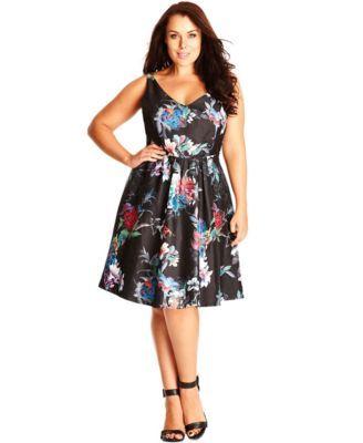 City Chic Plus Size Sleeveless Printed Empire-Waist Dress   macys.com