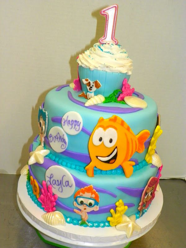 Amazing Bubble Guppies Cake Idea For My Little Sisters 1St Birthday Birthday Cards Printable Inklcafe Filternl