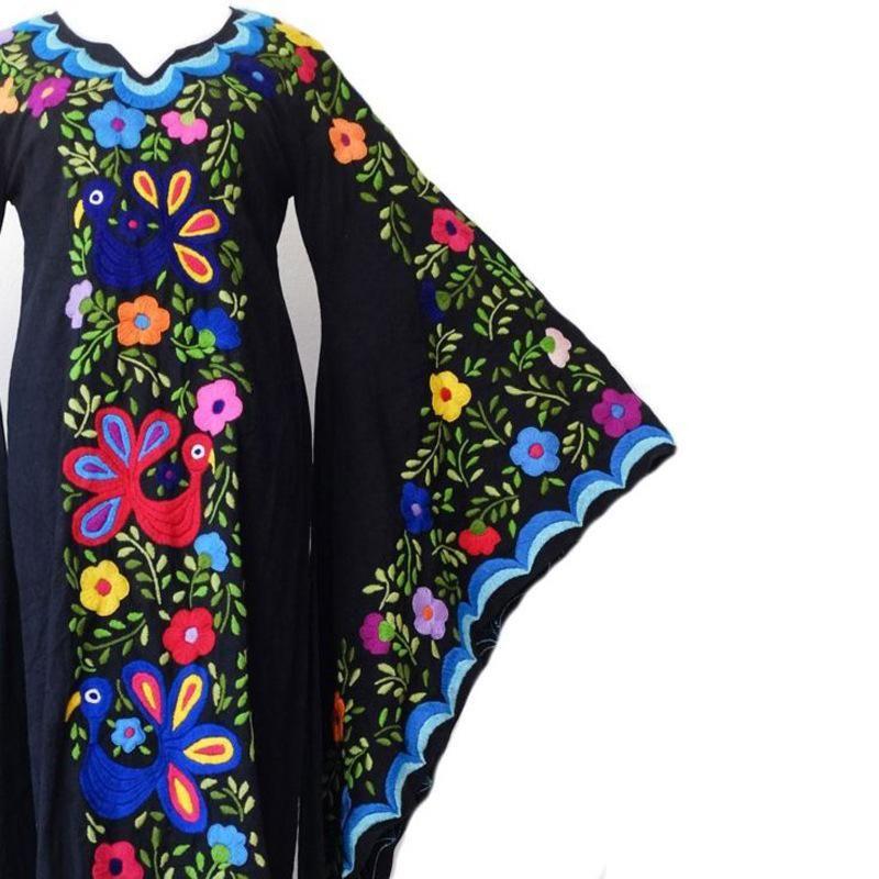 Mangas acampanadas bordadas hippie vintage – XXL  – Moda