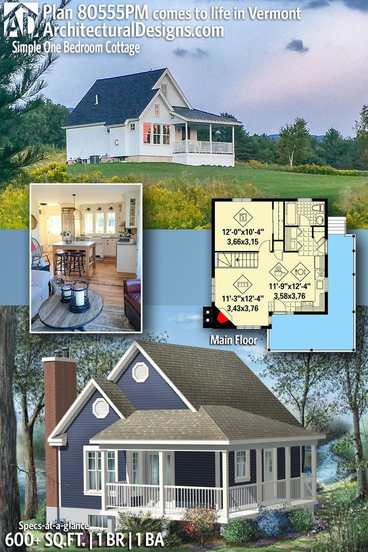 Plan 80555PM: Simple One Bedroom Cottage Cottage house