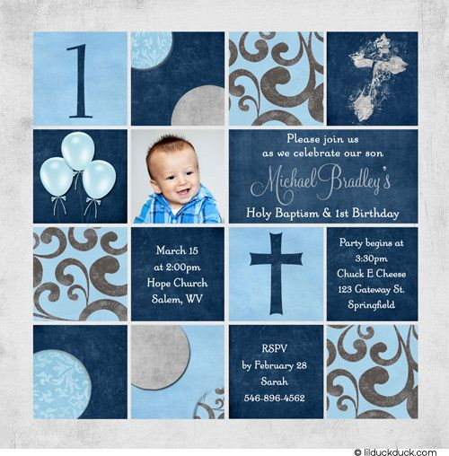 Cool Free Template First Birthday And Baptism Invitations