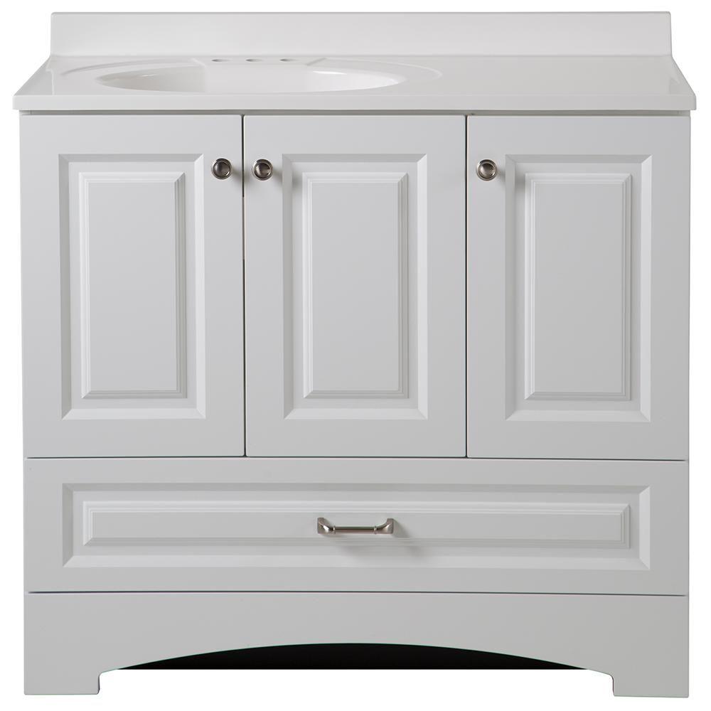 glacier bay lancaster 36 in vanity in white with alpine vanity top rh pinterest com Home Depot Bath Vanities and Cabinets home depot bathroom vanity 36 inch